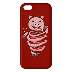 Red Stupid Self Eating Gluttonous Pig Apple iPhone 5 Premium Hardshell Case