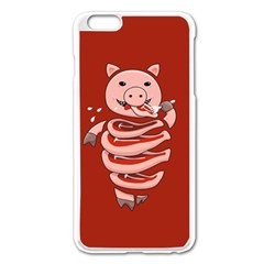 Red Stupid Self Eating Gluttonous Pig Apple iPhone 6 Plus/6S Plus Enamel White Case