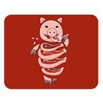 Red Stupid Self Eating Gluttonous Pig Double Sided Flano Blanket (Large)  80 x60 Blanket Front
