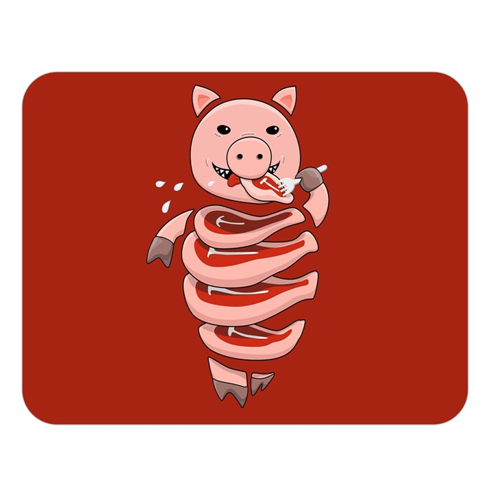 Red Stupid Self Eating Gluttonous Pig Double Sided Flano Blanket (Large)