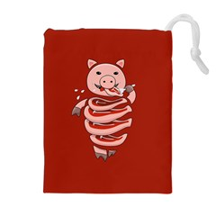 Red Stupid Self Eating Gluttonous Pig Drawstring Pouches (Extra Large)