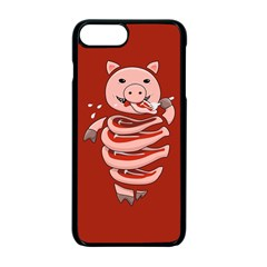 Red Stupid Self Eating Gluttonous Pig Apple iPhone 7 Plus Seamless Case (Black)