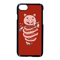 Red Stupid Self Eating Gluttonous Pig Apple Iphone 7 Seamless Case (black)
