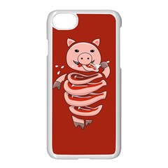 Red Stupid Self Eating Gluttonous Pig Apple Iphone 7 Seamless Case (white)