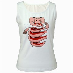 Stupid Gluttonous Self Eating Pig Women s White Tank Top