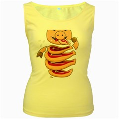 Stupid Gluttonous Self Eating Pig Women s Yellow Tank Top