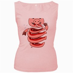 Stupid Gluttonous Self Eating Pig Women s Pink Tank Top