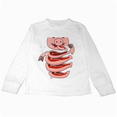 Stupid Gluttonous Self Eating Pig Kids Long Sleeve T-Shirts