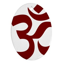 Hindu Om Symbol (Dark Red) Ornament (Oval)