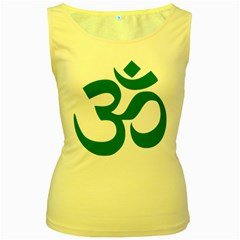 Hindu Om Symbol (Teal) Women s Yellow Tank Top