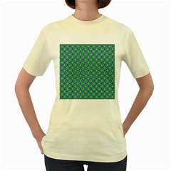 Friendly Retro Pattern A Women s Yellow T-Shirt