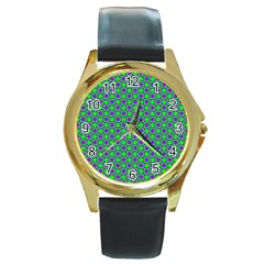 Friendly Retro Pattern A Round Gold Metal Watch