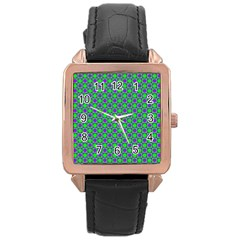 Friendly Retro Pattern A Rose Gold Leather Watch