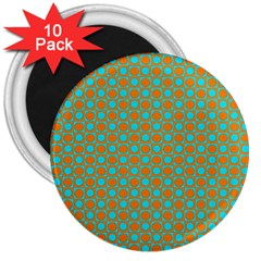 Friendly Retro Pattern D 3  Magnets (10 pack)