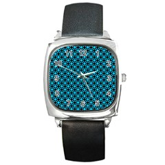 Friendly Retro Pattern E Square Metal Watch