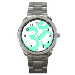 Hindu Om Symbol (Cyan Blue) Sport Metal Watch