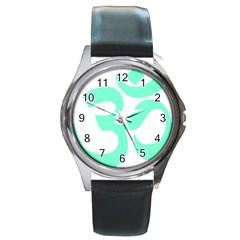 Hindu Om Symbol (Cyan Blue) Round Metal Watch