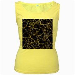 Skulls Pattern Women s Yellow Tank Top