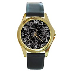 Skulls Pattern Round Gold Metal Watch