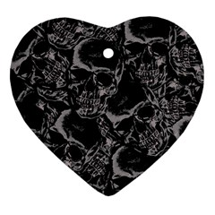 Skulls Pattern Heart Ornament (two Sides)