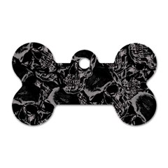 Skulls Pattern Dog Tag Bone (one Side)