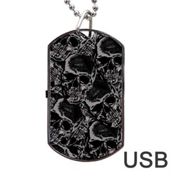 Skulls Pattern Dog Tag Usb Flash (two Sides)