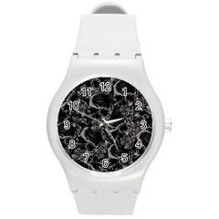 Skulls Pattern Round Plastic Sport Watch (m)