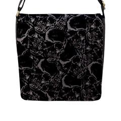 Skulls Pattern Flap Messenger Bag (l)