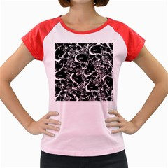 Skulls Pattern Women s Cap Sleeve T Shirt