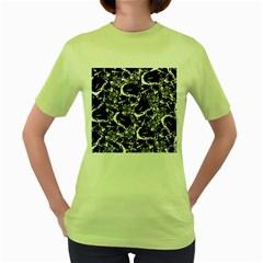 Skulls Pattern Women s Green T Shirt