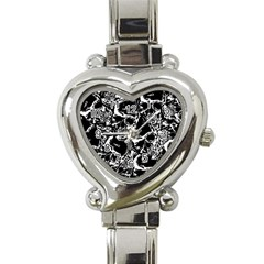 Skulls Pattern Heart Italian Charm Watch