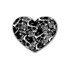 Skulls Pattern Rubber Coaster (heart)