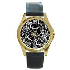 Skulls Pattern Round Gold Metal Watch
