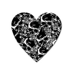 Skulls Pattern Heart Magnet