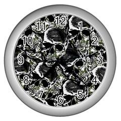 Skulls pattern Wall Clocks (Silver)