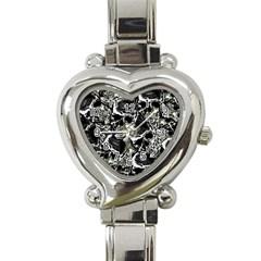 Skulls Pattern Heart Italian Charm Watch