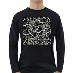 Skulls Pattern Long Sleeve Dark T Shirts