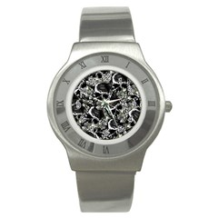 Skulls Pattern Stainless Steel Watch