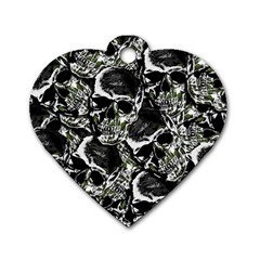 Skulls Pattern Dog Tag Heart (two Sides)