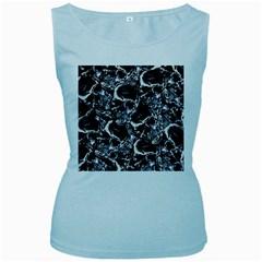 Skulls Pattern Women s Baby Blue Tank Top