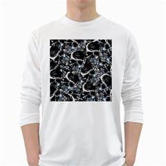 Skulls Pattern White Long Sleeve T Shirts