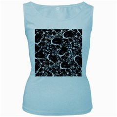 Skulls Pattern Women s Baby Blue Tank Top