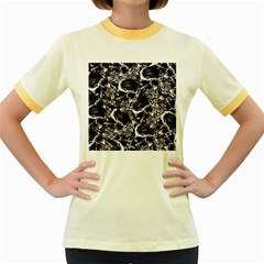 Skulls Pattern Women s Fitted Ringer T Shirts