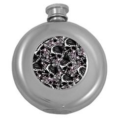Skulls Pattern Round Hip Flask (5 Oz)