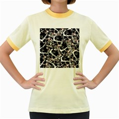 Skull Pattern Women s Fitted Ringer T Shirts