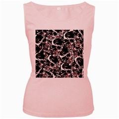 Skull Pattern Women s Pink Tank Top