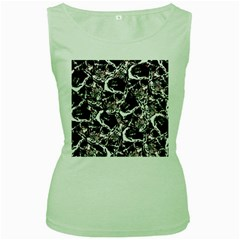 Skull Pattern Women s Green Tank Top