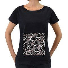 Skull Pattern Women s Loose Fit T Shirt (black)