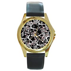 Skull Pattern Round Gold Metal Watch