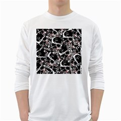 Skull Pattern White Long Sleeve T Shirts